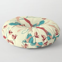 Birds and leaves Floor Pillow