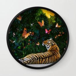 Tiger's Butterfly Friends Wall Clock