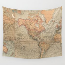 Vintage Map of The World (1870) Wall Tapestry