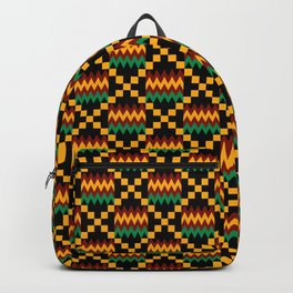 Green, Dark Red, Yellow Gold Kente Cloth on Black Backpack