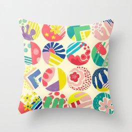 Abstract circle fun pattern Throw Pillow
