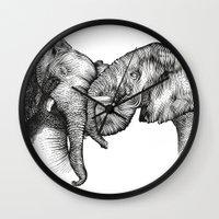 elephants Wall Clocks featuring elephants by Lyudmila Kuguk