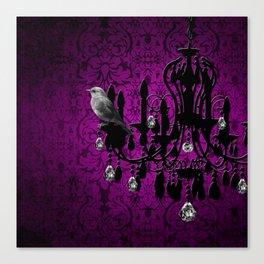 Bird & Purple Damask Sparkly Chandelier Silhouette Canvas Print