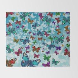 Colorful butterflies - Pattern Throw Blanket