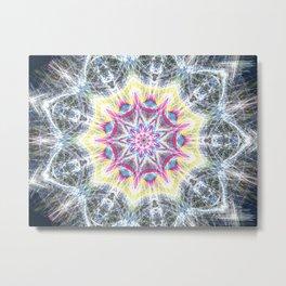 Pink and Yellow Mandala Swirl Metal Print