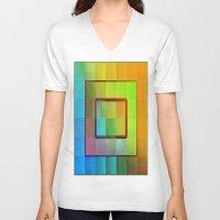 aperture V-neck T-shirts featuring Aperture #3 Vibrant Fractal Pleat Texture Design by CAP Artwork & Design