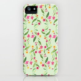 Granny Vine Floral Light Green iPhone Case