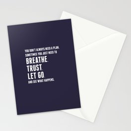 Nice words - Breathe, Trust, Let Go Stationery Cards