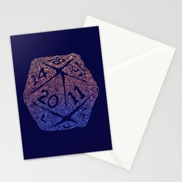 d20 - peach over navy blue - icosahedron for nerds  Stationery Cards