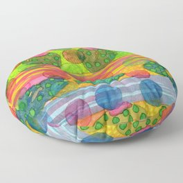 Round Shapes within and above horizontal Stripes Floor Pillow