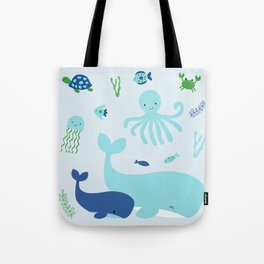 Blue Nautical Under The Sea Animals Tote Bag