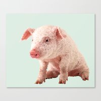 pig Canvas Prints featuring Pig by Dora Birgis