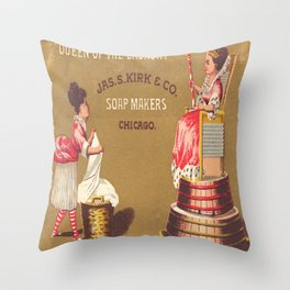 Vintage Poster - Queen of the Laundry Throw Pillow