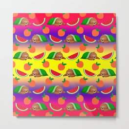 Cute funny sweet adorable sleeping dreaming baby sloths under a blanket, little peaches and red ripe summer tropical watermelons cartoon fantasy yellow purple pattern design Metal Print