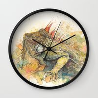 "iggy Wall Clocks featuring ""Iggy Punk"" by PaintedBunting"