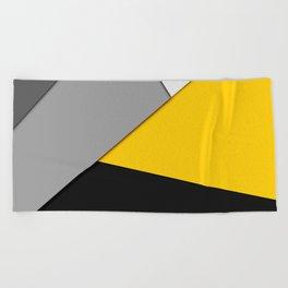 Simple Modern Gray Yellow and Black Geometric Beach Towel