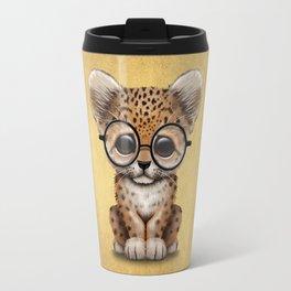 Cute Baby Leopard Cub Wearing Glasses on Yellow Travel Mug