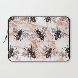 Bees on rose gold marble Laptop Sleeve