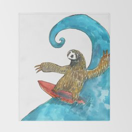 surfing sloth transparent Throw Blanket