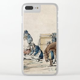 A dead or injured young huntsman is tended by two men and a lady looking on. Coloured lithograph by Clear iPhone Case
