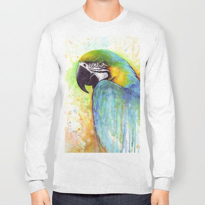 Bird Watercolor Animal Macaw Long Sleeve T-shirt