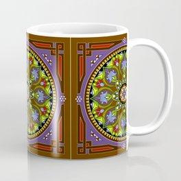Boho Floral Crest Brown Coffee Mug