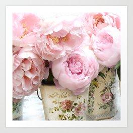 Paris Shabby Chic Peonies French Belle Fleur Floral Prints Home Decor Art Print