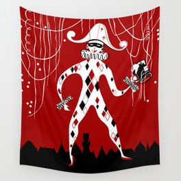 Retro vintage harlequin clown music cover Wall Tapestry