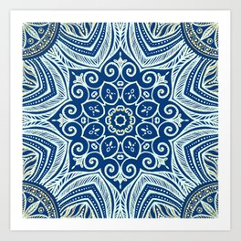Blue and Gold  flowers pattern Art Print