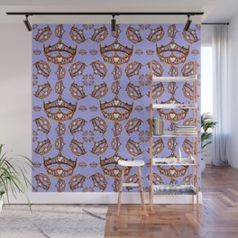 Queen of Hearts gold crowns tiaras repeat pattern on periwinkle background by Kristie Hubler Wall Mural