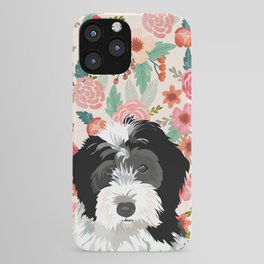 Bernedoodle floral pet portrait art print and dog gifts iPhone Case