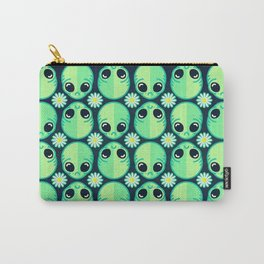 Sad Alien and Daisy Nineties Grunge Pattern Carry-All Pouch