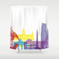 brussels Shower Curtains featuring Brussels skyline pop by Paulrommer