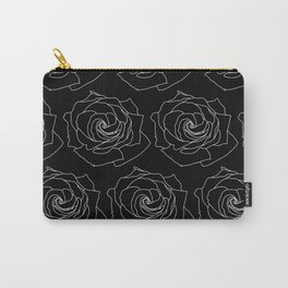 Black with White Rose Pattern Thin Lines Carry-All Pouch