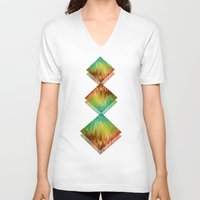 spring V-neck T-shirts featuring Spring  by SensualPatterns