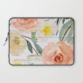 Watercolor Flowers on Rustic Wood Laptop Sleeve