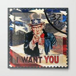 Us stamp vintage Uncle Sam Metal Print