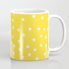 Yellow background with white stars seamless pattern Coffee Mug
