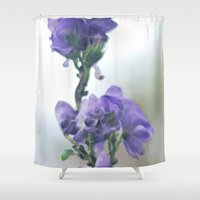 iris Shower Curtains featuring Iris by Bella Blue Photography