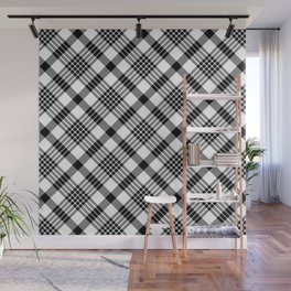 Black and White Plaid Pattern Wall Mural