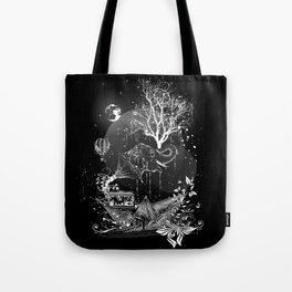 Surrealistic dream, paper boat, elephant, tree and gramophone Tote Bag