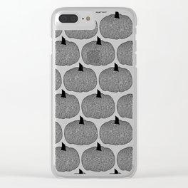 Pumpkin Black And White Clear iPhone Case