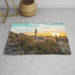 Desert Sunrise // Saguaro Cactus Summer Sun Arizona Nature Landscape Teal Blue Green Sky Rug