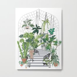 greenhouse illustration Metal Print