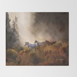 Horses in a Golden Meadow by Georgia M Baker Throw Blanket