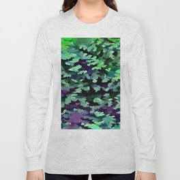 Foliage Abstract Pop Art In Jade Green and Purple Long Sleeve T-shirt