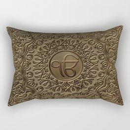 Decorative Ek Onkar / Ik Onkar  embossed on gold Rectangular Pillow