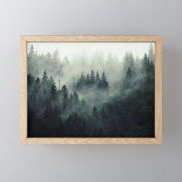 Misty pine fir forest landscape in hipster vintage retro style Framed Mini Art Print