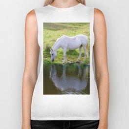 Wild Horse Drinking from a Pond Biker Tank