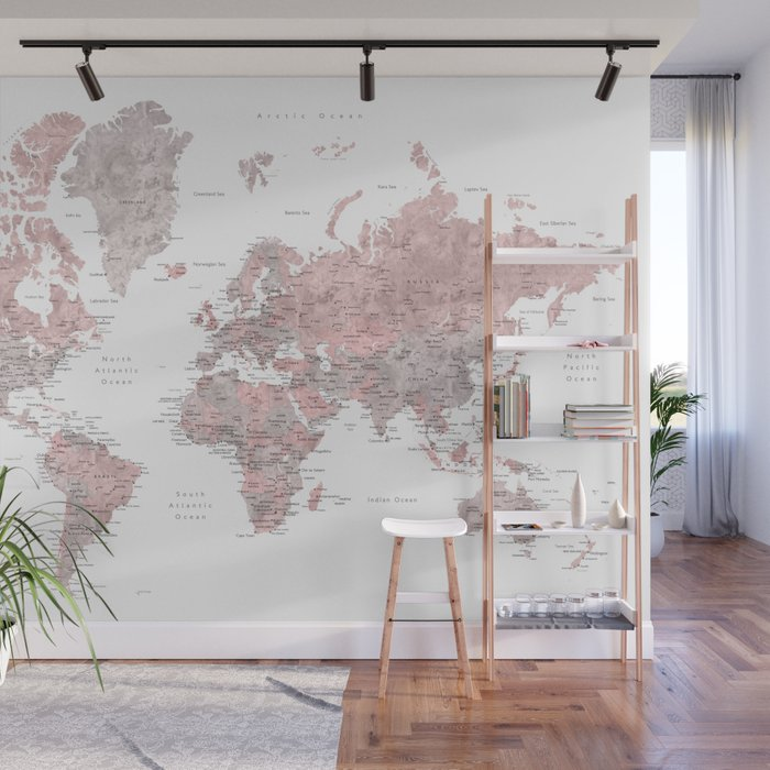 dusty pink and grey detailed watercolor world map wall mural